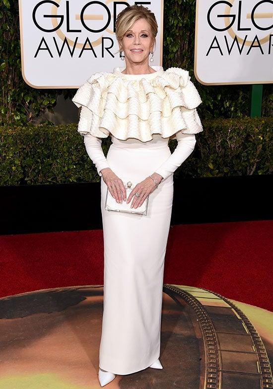 Jane Fonda arrives at the Golden Globes