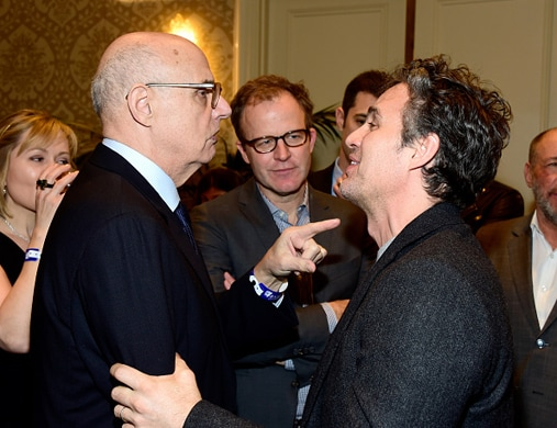 LOS ANGELES, CA - JANUARY 09: (EXCLUSIVE COVERAGE) (L-R) Actor Jeffrey Tambor, director Tom McCarthy and actor Mark Ruffalo attend the BAFTA Los Angeles Awards Season Tea at Four Seasons Hotel Los Angeles at Beverly Hills on January 9, 2016 in Los Angeles, California. (Photo by Frazer Harrison/BAFTA LA/Getty Images for BAFTA LA)