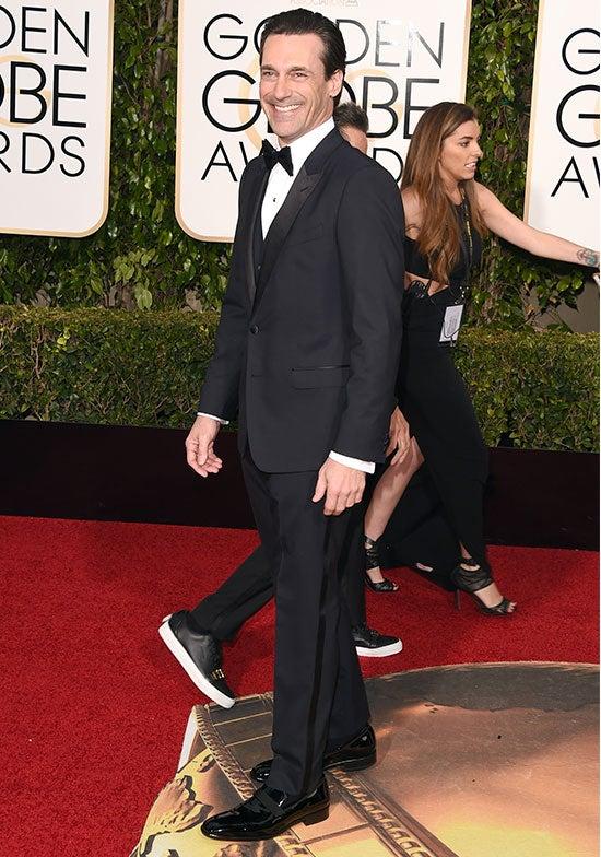 Jon Hamm arrives at the Golden Globes