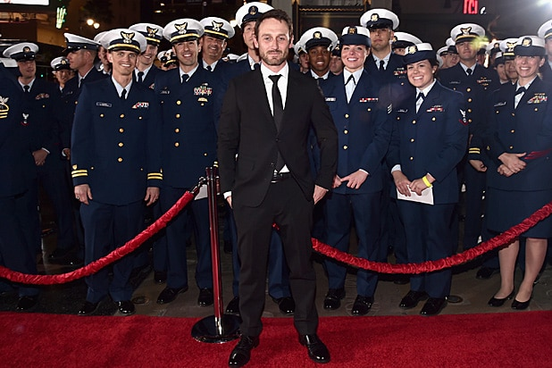 Josh Stewart with US Coast Guard at The Finest Hours premiere