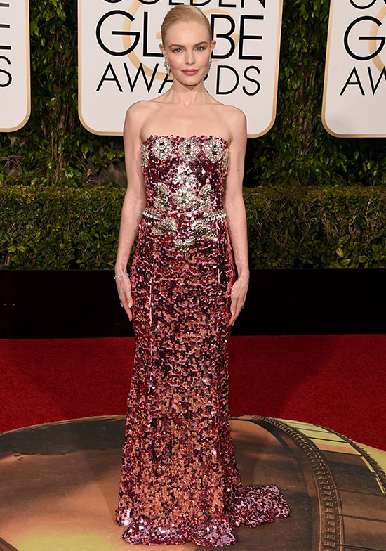 Kate Bosworth arrives at the Golden Globes