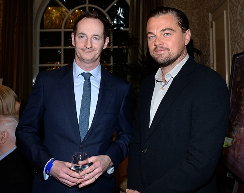 LOS ANGELES, CA - JANUARY 09: (EXCLUSIVE COVERAGE) British Consul General Southwest Region United States Chris O'Connor (L) and actor Leonardo DiCaprio attend the BAFTA Los Angeles Awards Season Tea at Four Seasons Hotel Los Angeles at Beverly Hills on January 9, 2016 in Los Angeles, California. (Photo by Kevork Djansezian/BAFTA LA/Getty Images for BAFTA LA)