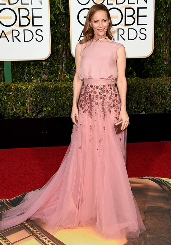 Leslie Mann arrives at the Golden Globes