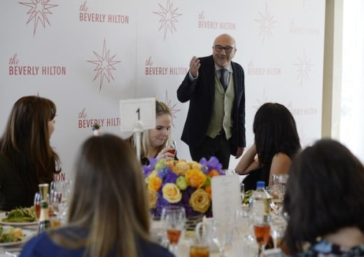 BEVERLY HILLS, CA - JANUARY 7: Lorenzo Soria, president Hollywood Foreign Press Association, speaks to attendees during the 73rd Annual Golden Globe Awards Miss Golden Globe lunch at The Beverly Hilton Hotel on January 7, 2016 in Beverly Hills, California. (Photo by Kevork Djansezian/Getty Images)