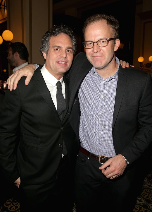"BEVERLY HILLS, CA - JANUARY 08: Actor Mark Ruffalo (L) and director Tom McCarthy attend Ketel One Vodka Celebrates Excellence In Cinema with ""Spotlight"" Pre-Golden Globe Celebration at Bouchon on January 8, 2016 in Beverly Hills, California. (Photo by Imeh Akpanudosen/Getty Images for Ketel One) *** Local Caption *** Mark Ruffalo;Tom McCarthy"