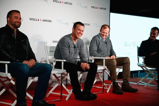 PARK CITY, UT - JANUARY 23: (L - R) Todd Allen, Global Vice President, Stella Artois, Water.org Co-Founders Matt Damon and Gary White, and Sean Bailey, Sundance Institute Board member participated in a panel session hosted by Stella Artois on January 23, 2016 in Park City, Utah, regarding the current global water crisis and what needs to be done to end the long water collection journeys many women in developing countries have to make each day. (Photo by Rick Kern/Getty Images for Stella Artois)