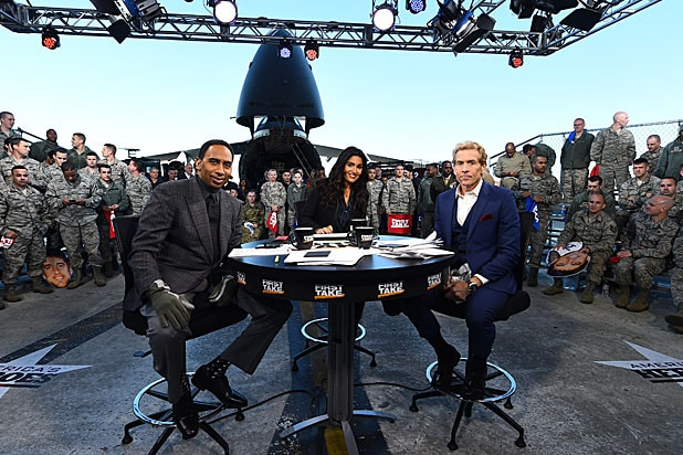 Stephen A. Smith, Molly Qerim and Skip Bayless on the set of First Take
