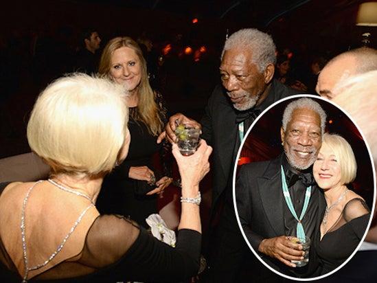 Morgan Freeman Helen Mirren Weinstein Netflix Golden Globes Party