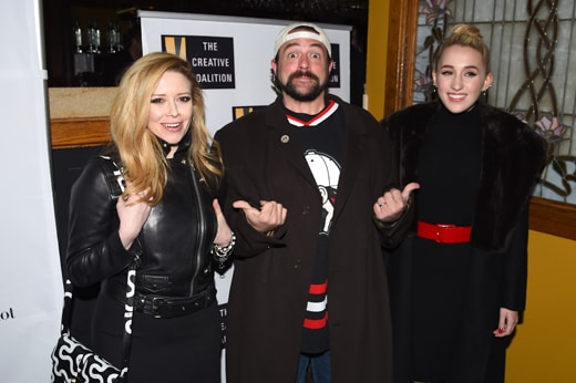PARK CITY, UT - JANUARY 23: (L-R) Natasha Lyonne, Kevin Smith, and Harley Quinn Smith attend the Creative Coalition Spotlight Initiative Awards Gala Dinner at Cisero's Bar on January 23, 2016 in Park City, Utah. (Photo by Nicholas Hunt/Getty Images)