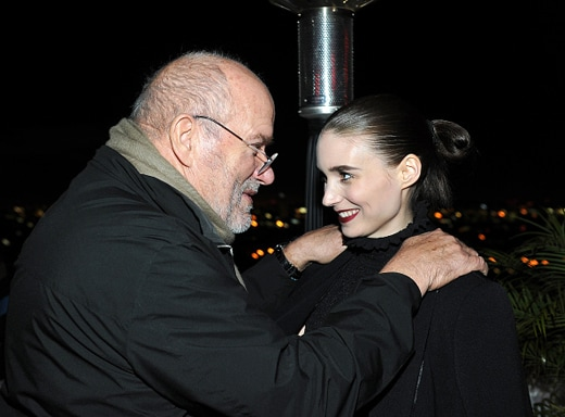 LOS ANGELES, CA - JANUARY 07: Photographer Peter Lindbergh (L) and actress Rooney Mara attend the W Magazine celebration of the 'Best Performances' Portfolio and The Golden Globes with Audi and Dom Perignon at Chateau Marmont on January 7, 2016 in Los Angeles, California. (Photo by Donato Sardella/Getty Images for W Magazine)