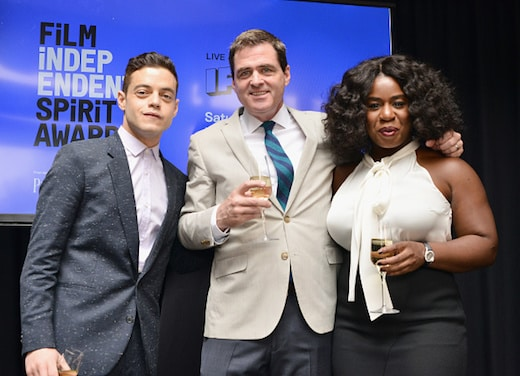 WEST HOLLYWOOD, CA - JANUARY 09: (L-R) Host Rami Malek, Film Independent President Josh Welsh, and host Uzo Aduba attend the 2016 Film Independent Filmmaker Grant and Spirit Award Nominees Brunch at BOA Steakhouse on January 9, 2016 in West Hollywood, California. (Photo by Araya Diaz/WireImage)