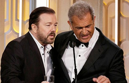 Ricky Gervais and Mel Gibson at the Golden Globe Awards