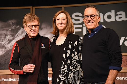 PARK CITY, UT - JANUARY 21: (L-R) Sundance Institute President Robert Redford, Sundance Institute Executive Director Keri Putnam and Sundance Film Festival Director John Cooper attend the 2016 Sundance Film Festival Day One Press Conference at Egyptian Theatre on January 21, 2016 in Park City, Utah. (Photo by Jason Merritt/[Getty Images for Sundance Film Festival])
