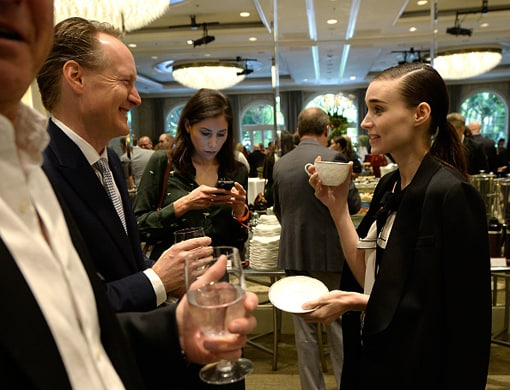 LOS ANGELES, CA - JANUARY 09: (EXCLUSIVE COVERAGE) British Consul General in Los Angeles Chris O'Connor (L) and actress Rooney Mara attend the BAFTA Los Angeles Awards Season Tea at Four Seasons Hotel Los Angeles at Beverly Hills on January 9, 2016 in Los Angeles, California. (Photo by Kevork Djansezian/BAFTA LA/Getty Images for BAFTA LA)