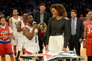 Sage Steele and Kevin Hart at the 2015 All-Star game