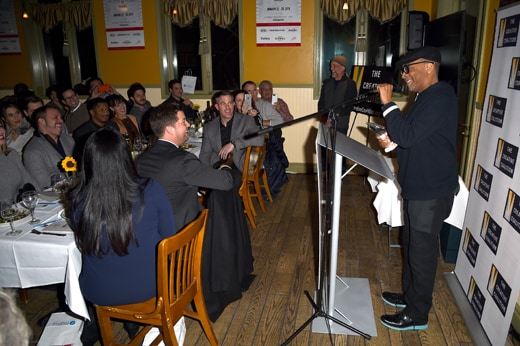 PARK CITY, UT - JANUARY 23: Director Spike Lee speaks during the Creative Coalition Spotlight Initiative Awards Gala Dinner at Cisero's Bar on January 23, 2016 in Park City, Utah. (Photo by Nicholas Hunt/Getty Images)