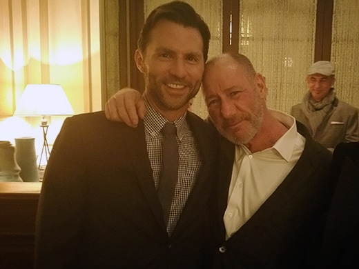 """Spotlight"" producers Jonathan King and Steve Golin at their party. (Mikey Glazer)"