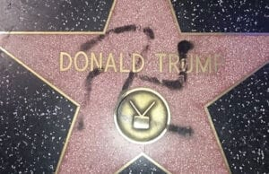 Trump walk of fame star vandalized