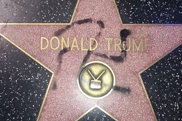 Trump walk of fame star vandalized