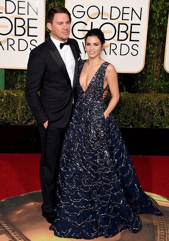 Channing Tatum and Jenna Dewan Tatum arrive at the Golden Globes