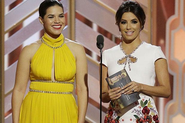 America Ferrera and Eva Longoria at Golden Globes