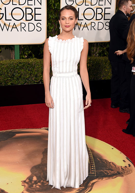 Alicia Vikander arrives at the Golden Globes
