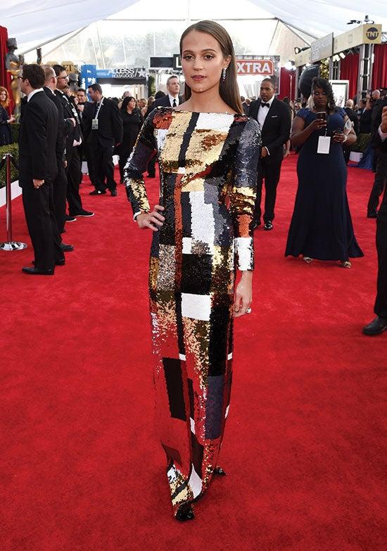 alicia vikander arrives at the SAG Awards