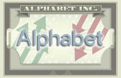 The logo for Alphabet on the iconography of a dollar bill