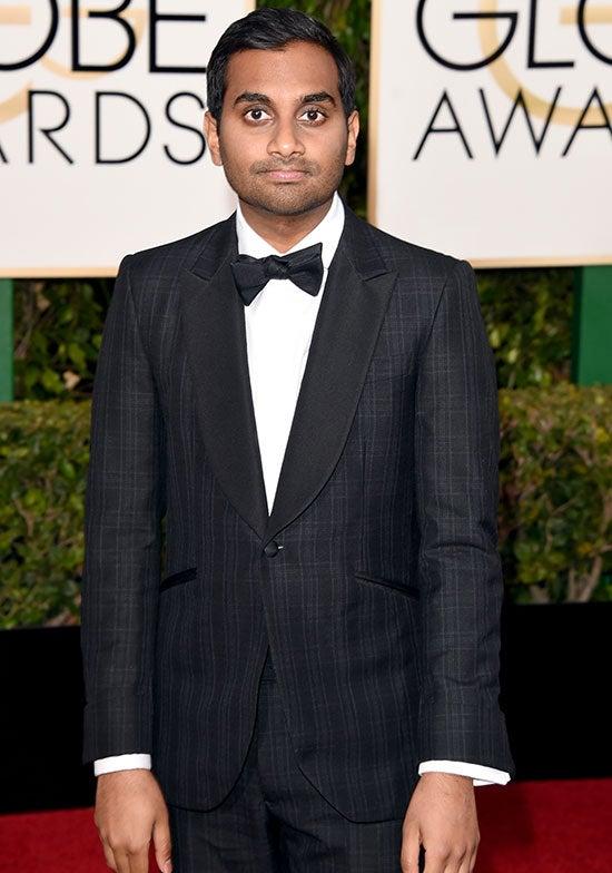 Aziz Ansari arrives at the Golden Globes