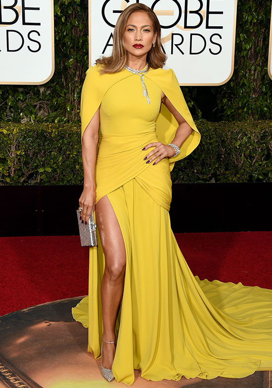 Jennifer Lopez arrives at the Golden Globes