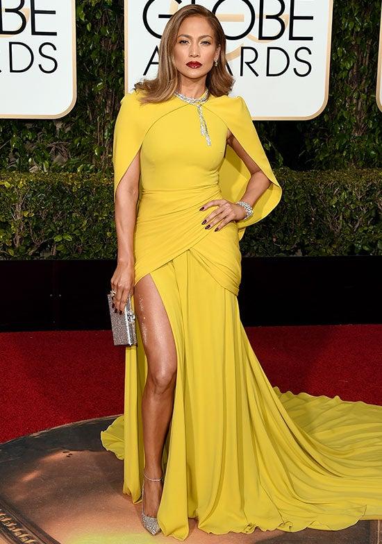 Jennifer Lopez arrives at the Golden Globes