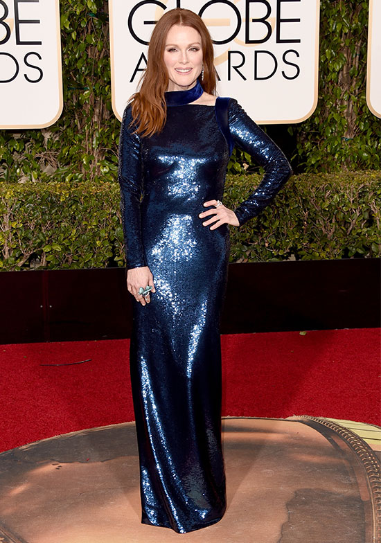 Julianne Moore arrives at the Golden Globes