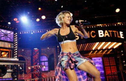kaley cuoco lip sync battle spike