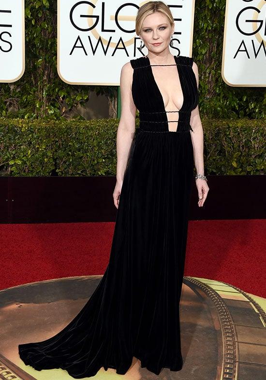 Kirsten Dunst arrives at the Golden Globes