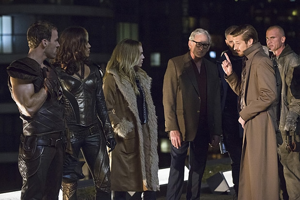 "DC's Legends of Tomorrow -- ""Pilot, Part 1"" -- Image LGN101d_0288b -- Pictured (L-R): Falk Hentschel as Carter Hall/Hawkman, Ciara Renee as Kendra Saunders/Hawkgirl, Caity Lotz as Sara Lance, Victor Garber as Professor Martin Stein, Wentworth Miller as Leonard Snart/Captain Cold, Arthur Darvill as Rip Hunter and Dominic Purcell as Mick Rory/Heat Wave -- Photo: Jeff Weddell/The CW -- © 2015 The CW Network, LLC. All Rights Reserved."