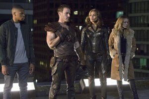 """DC's Legends of Tomorrow -- """"Pilot, Part 1"""" -- Image LGN101d_0182b -- Pictured (L-R): Franz Drameh as Jefferson """"Jax"""" Jackson, Falk Hentschel as Carter Hall/Hawkman, Ciara Renee as Kendra Saunders/Hawkgirl and Caity Lotz as Sara Lance -- Photo: Jeff Weddell/The CW -- © 2015 The CW Network, LLC. All Rights Reserved."""