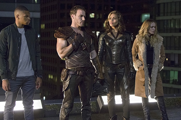 "DC's Legends of Tomorrow -- ""Pilot, Part 1"" -- Image LGN101d_0182b -- Pictured (L-R): Franz Drameh as Jefferson ""Jax"" Jackson, Falk Hentschel as Carter Hall/Hawkman, Ciara Renee as Kendra Saunders/Hawkgirl and Caity Lotz as Sara Lance -- Photo: Jeff Weddell/The CW -- © 2015 The CW Network, LLC. All Rights Reserved."