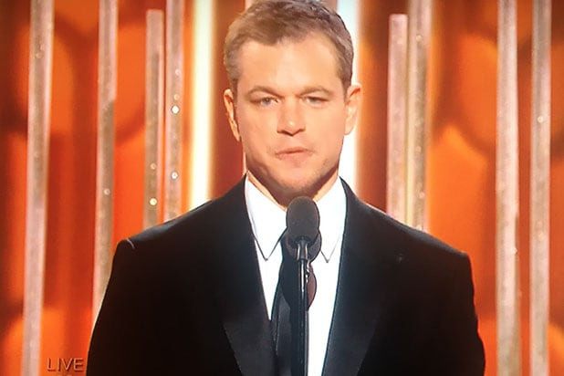 Matt Damon at the Golden Globes