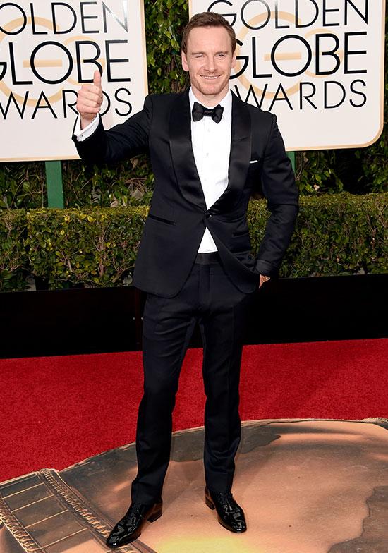 Michael Fassbender arrives at the Golden Globes