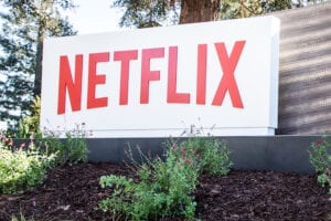 A Netflix sign at its headquarters