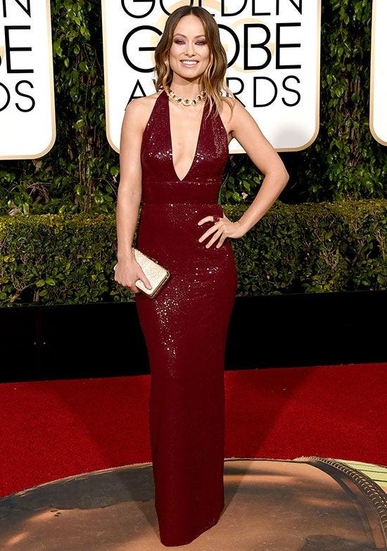 Olivia Wilde arrives at the Golden Globes