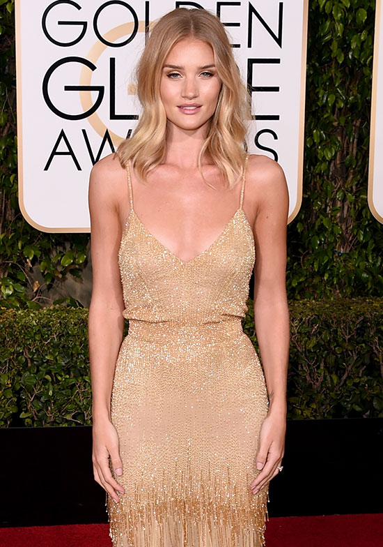 Rosie Huntington Whiteley arrives at the Golden Globes