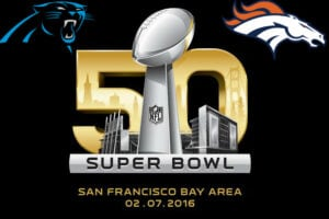 Super Bowl 50 logo with teams