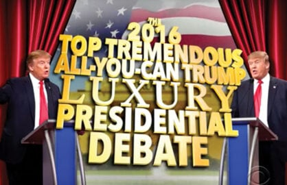 Trump debates against himself on Colbert