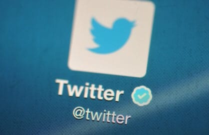The Twitter logo displayed on a mobile device