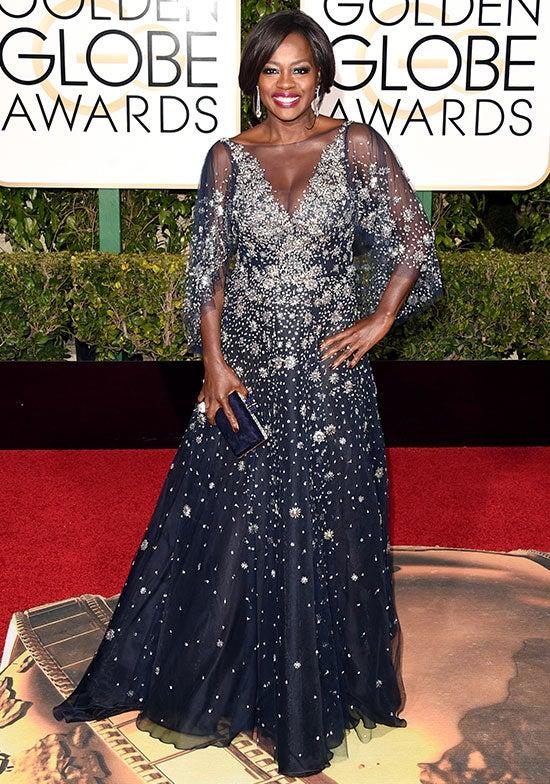 Viola Davis arrives at the Golden Globes