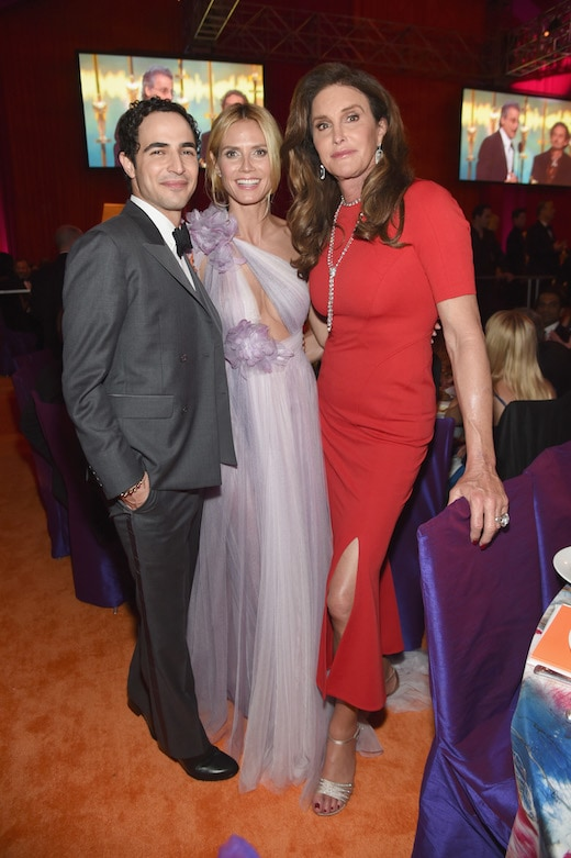 WEST HOLLYWOOD, CA - FEBRUARY 28: (L-R) Fashion designer Zac Posen, model Heidi Klum and tv personality Caitlyn Jenner attend the 24th Annual Elton John AIDS Foundation's Oscar Viewing Party at The City of West Hollywood Park on February 28, 2016 in West Hollywood, California. (Photo by Jamie McCarthy/Getty Images for EJAF) *** Local Caption *** Caitlyn Jenner;Heidi Klum;Zac Posen