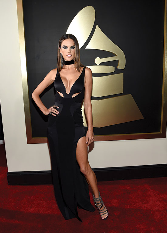 Alessandra Ambrosio arrives at the 2016 Grammys