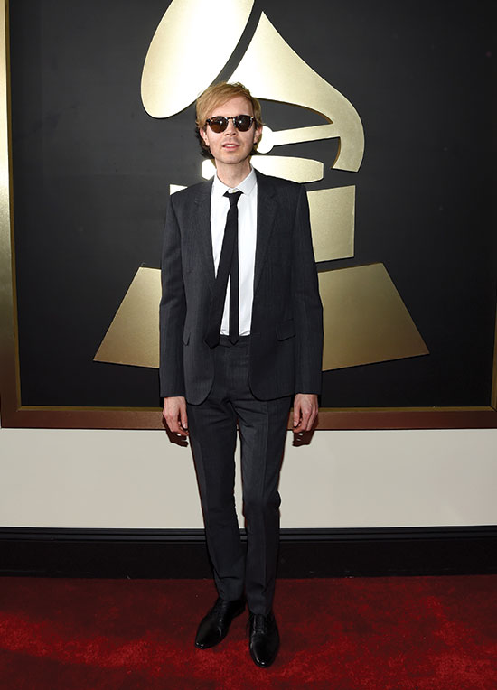 Beck arrives at the 2016 Grammys
