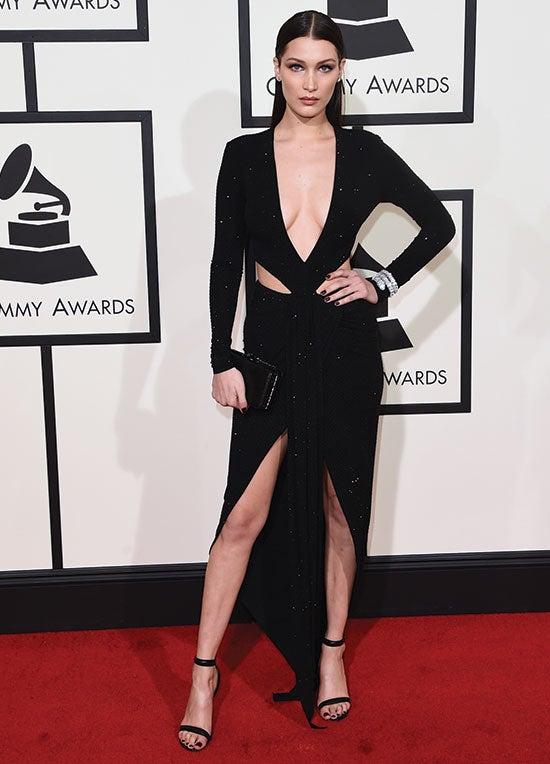 Bella Hadid arrives at the 2016 Grammys